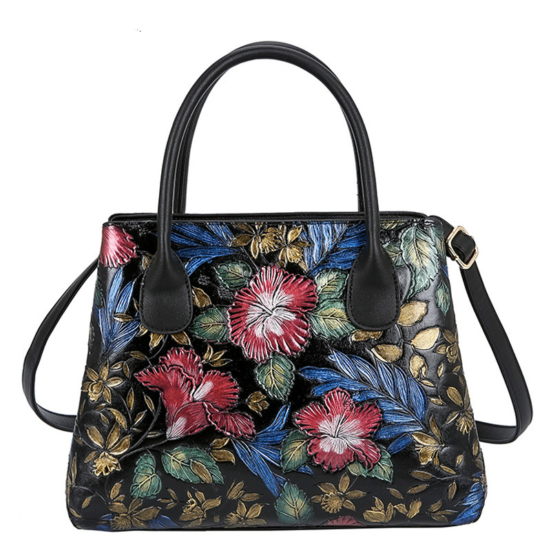 Ladies Leather Banquet Flower Tote Bags Handbags Women Famous Brands Large Capacity Shopping Shoulder Bag Woman Cross Body Bags