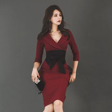 Solid Women Half Sleeve Office Work Dress for Ladies with Sashes Autumn Winter Women Dress Sheath Bodycon Wrap Dress Plus Size large size print plaid autumn winter dress women with sashes double button mini wrap dress women long sleeve office work dress