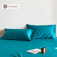 Liv-Esthete Luxury Noble Blue 100% Silk Pillowcase Nature 25 Momme Silk Healthy Standard Women Men Pillow Case Free Shipping