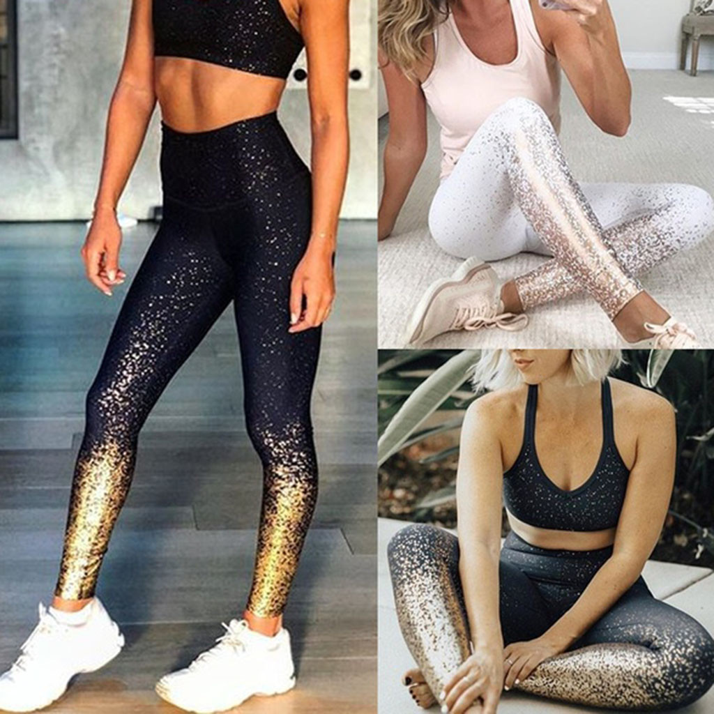 Leggings Sport Women Fitness Fashion Workout Leggings Fitness Sports Gym Running Athletic Pants Shiny print Pants