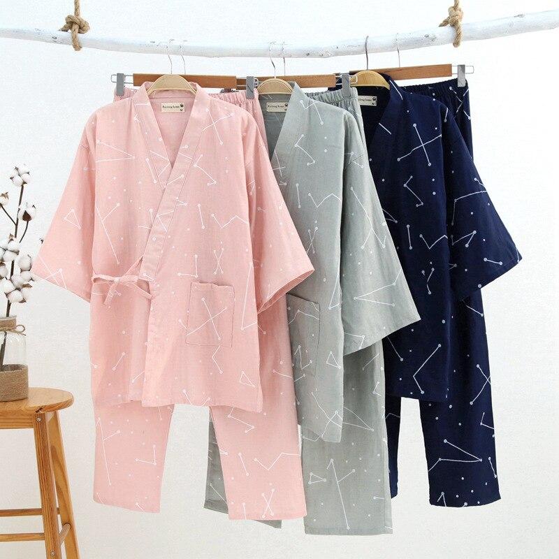 Japanese Men and Women Cotton Gauze Kimono Pajamas Sets Spring Autumn Simple Yukata Nightgown Sleepwear Bathrobe Lover Homewear