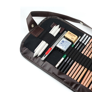 Image 3 - 29Pcs Pencil Sketch Pencil Set Pencils Charcoal Earser Utility Knife Drawing Standard Pencil With Canvas Bag Art Supplies