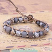 KELITCH, Смешанные браслеты из камня мала ручной работы, кожаные браслеты с бусинами, браслеты с манжетами, регулируемые, повседневные, для женщин и мужчин, Bijoux
