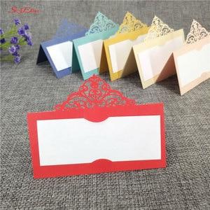 Image 2 - 10 個結婚式の名刺レーザーカット場所エスコートカード Pearlscent 紙カードゲスト名場所カード結婚式のテーブルデコレーション 8z