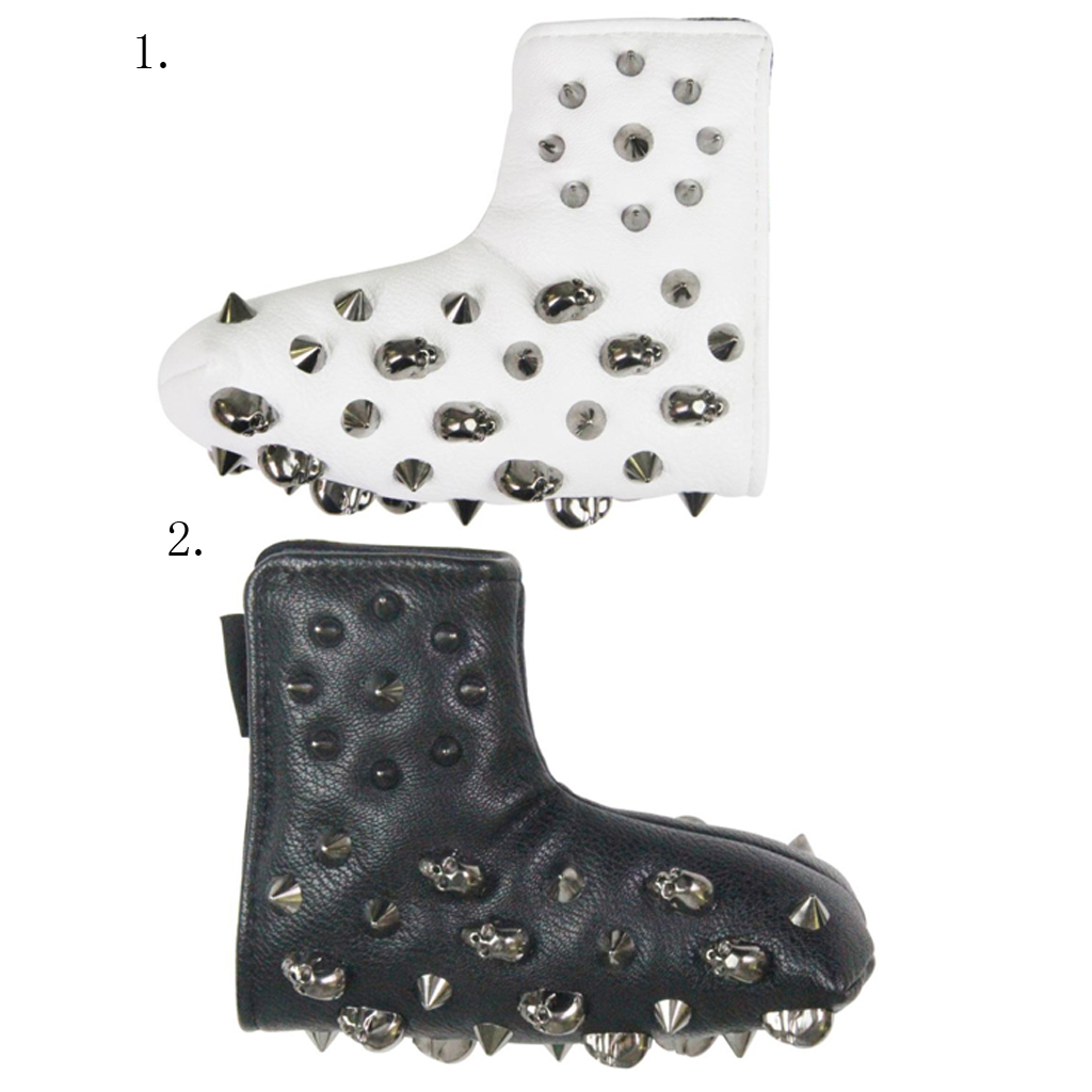 Universal Golf Club Headcover Deluxe Waterproof PU Leather with Metal Rivet for Blade Style Putters Mid Mallet