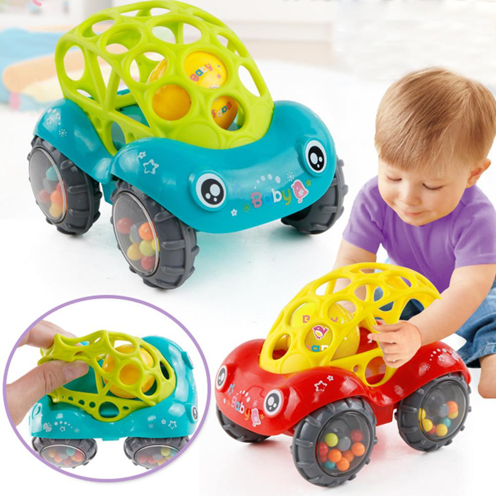 Baby Soft Hand Grasping Hole Bell Ring Car Cute Teether Rattle Toys For Kids