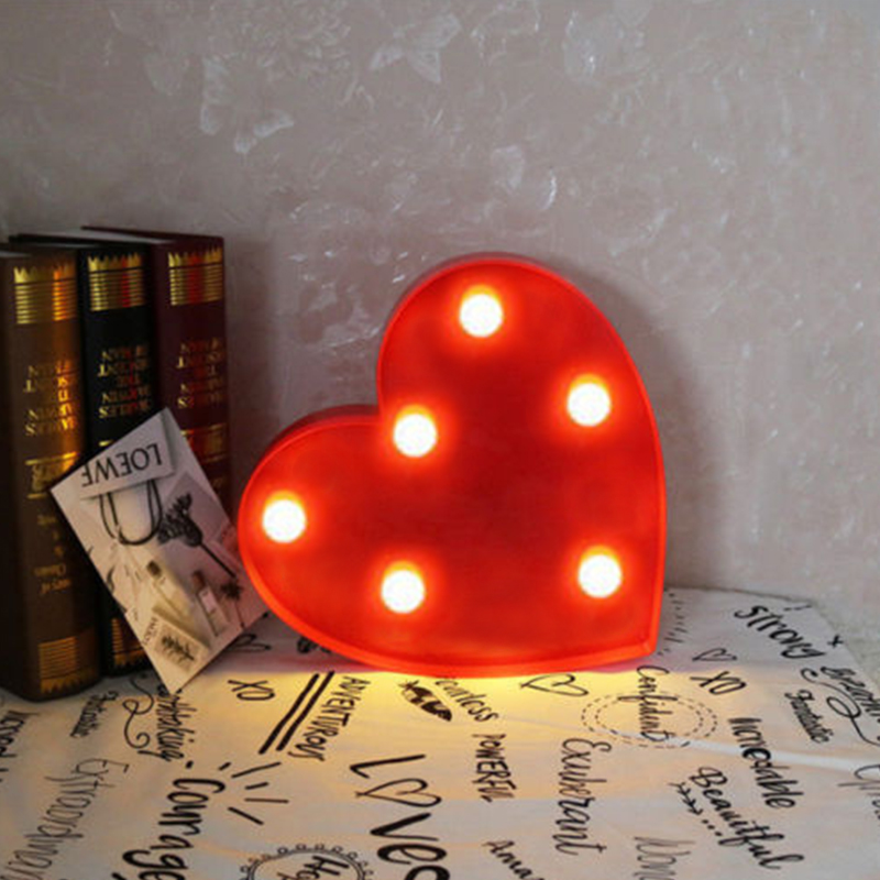 Luminous 3D Love Heart Marquee Letter Lamps Indoor Decorative Nights Lamps LED Night Light Wedding Decor Valentine's Day