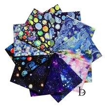 Wide110cmshining céu estrelado planeta estrelas saturn venus padrão 100% algodão tecido de retalhos costura material máscara diy tecido