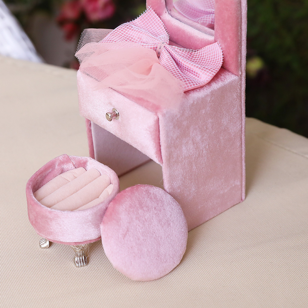 Pink Bowknot Mini Furniture Jewelry Trinket Storage Box Organizer Container Gift