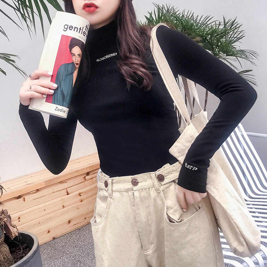 Harajuku бархатные базовые Топы, футболка, Женская Осенняя зимняя Водолазка с длинным рукавом, пуловер с буквенным принтом, топы, женские футболки, Camiseta