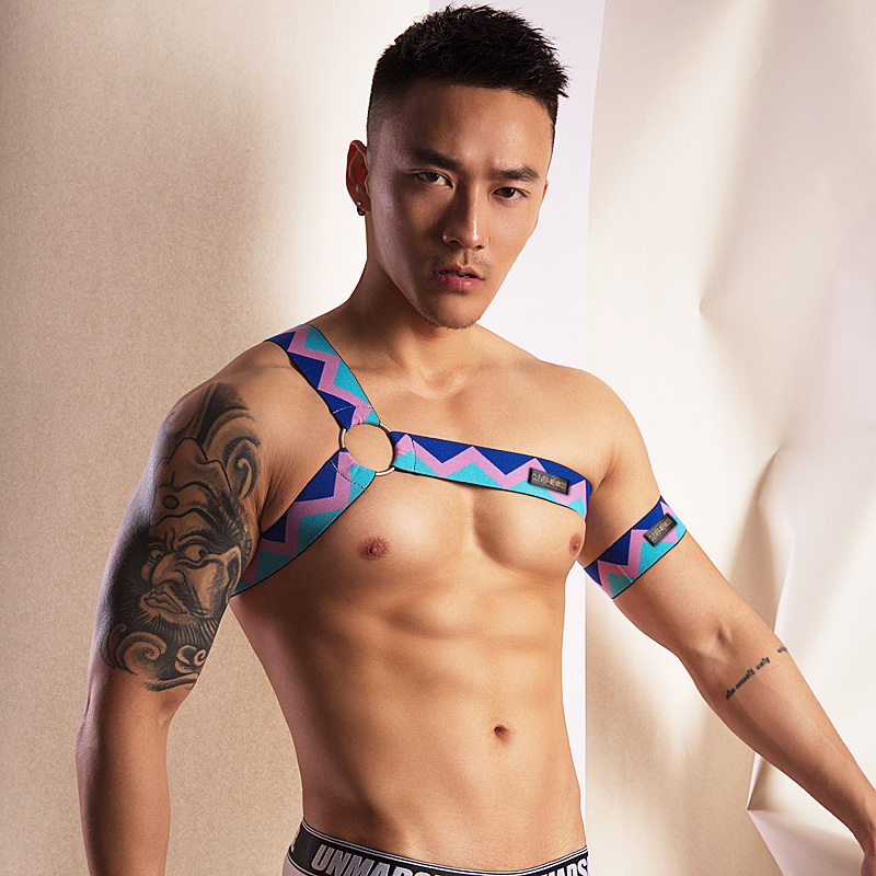 2019 New Style Multi Colors Men Elastic Shoulder Strap Body Chest Harness Lingerie Colorful Bondage Rainbow Performance Clubwear
