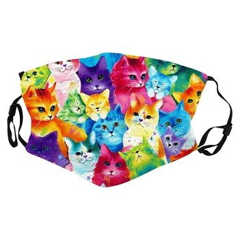Rainbow Cute Cat Face Print Antidust Windproof Face Mask Outdoor Cycling Sport Party Mask Breathable Reusable Mask Filter Pocket
