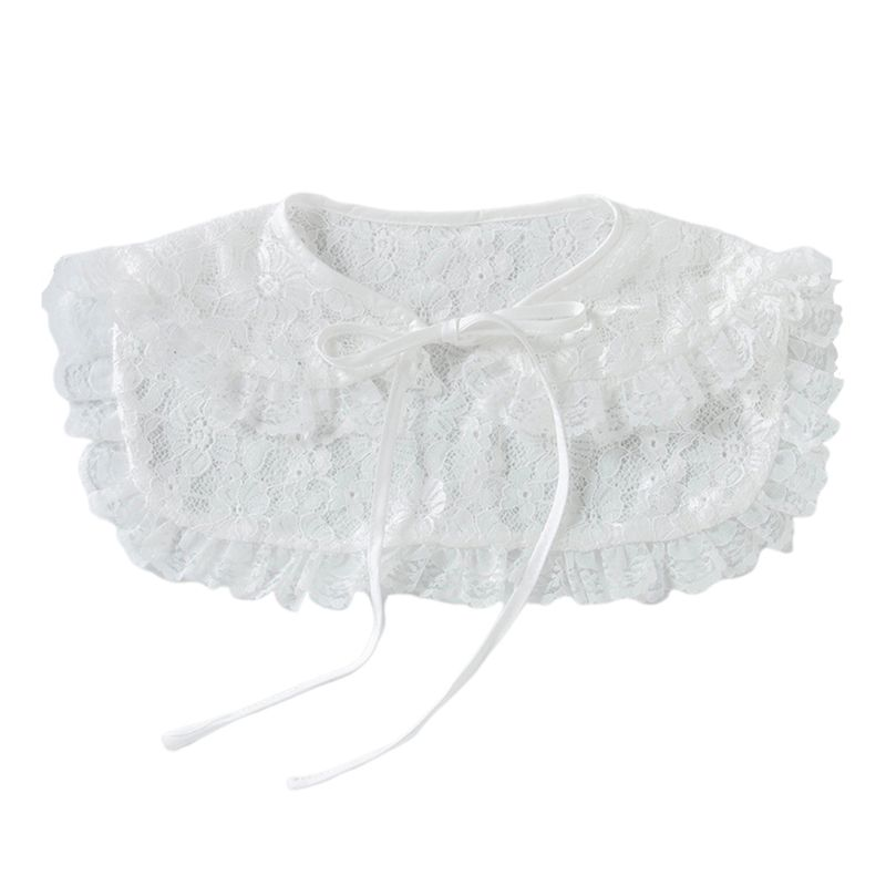 2020 New Womens Crochet Floral Lace Stand Fake Collar Pleated Ruffles Trim Half-Shirt