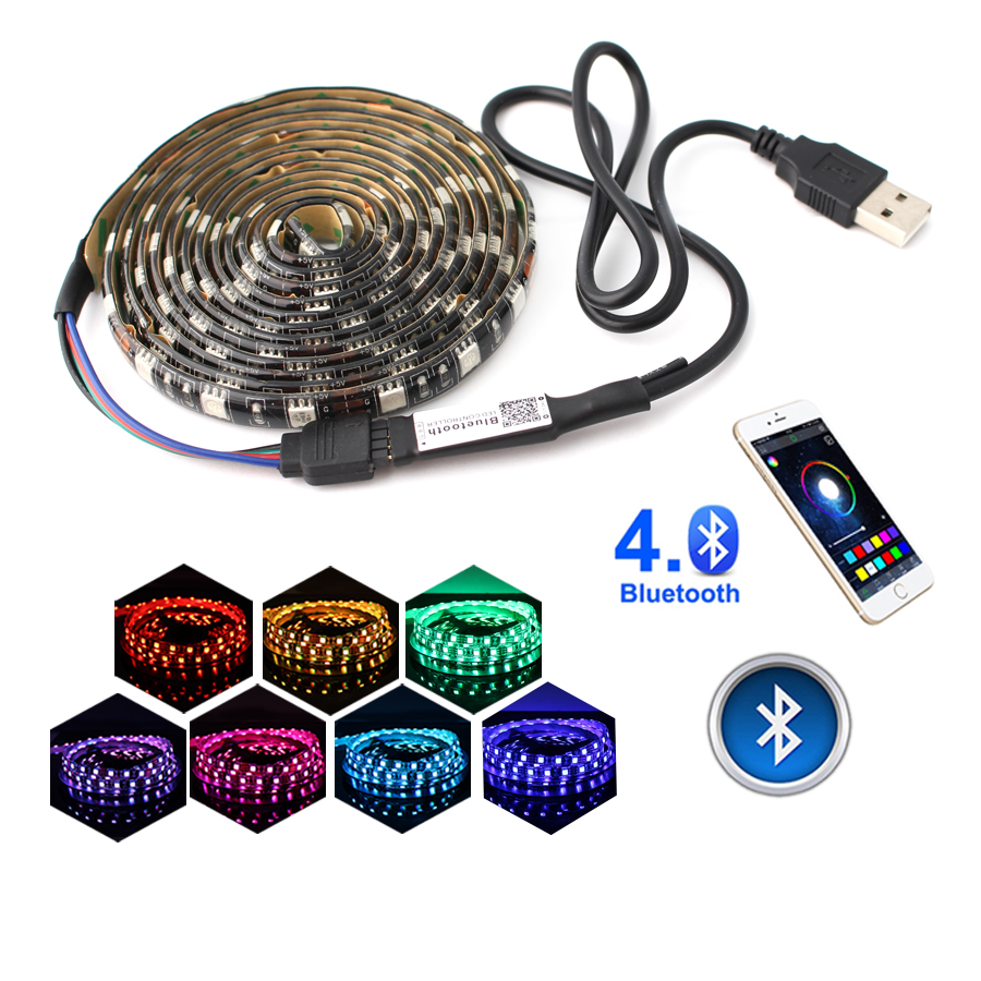 5 v led rgb tiras usb luz à prova dwaterproof água 5050 bluetooth controlador usb 5 v neon led tira de luz rgb fita ambilight tv backlight