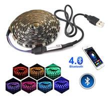 5 v led rgb tiras usb luz impermeável 5050 bluetooth controlador usb 5 v neon 50cm 5mled faixa de luz rgb fita tv backlight