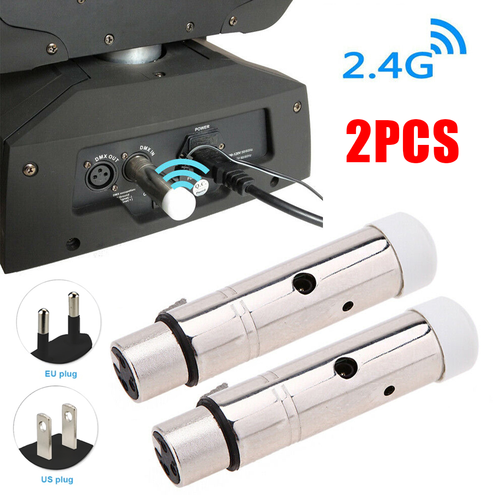 2pcs DMX512 Lighting Effect Stainless Steel Rechargeable Receiver Kit Electronic Stage Theater Wireless Transceiver Portable