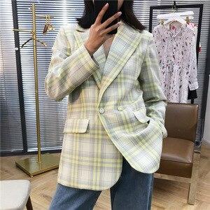 Image 2 - Abrigo de mujer 2019 Otoño e Invierno lindo amarillo grande Plaid traje de lana