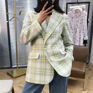 Image 2 - Women Coat 2019 Autumn and Winter Cute Yellow Large Plaid Wool Suit