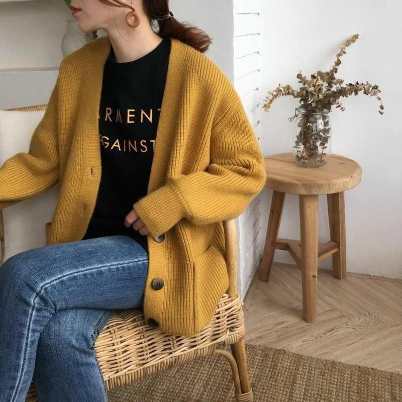 V 넥 포켓 긴 소매 옐로우 스웨터 오버 사이즈 롱 가디건 캐주얼 니트 싱글 브레스트 여성 코트 자켓 아웃웨어