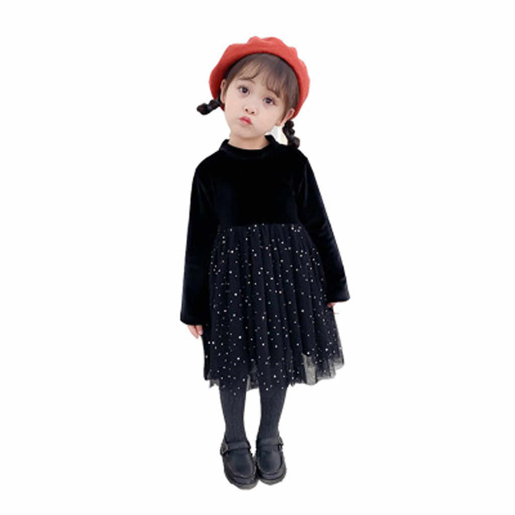 ילדה מסיבת שמלת קטיפה ילדים בגדים מזדמנים ארוך שרוול רשת שמלת זהב קטיפה נצנצים נסיכת שמלת תלבושות L1211