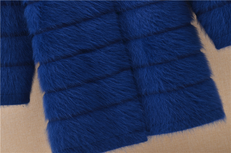 Image 2 - Top mujer women thick warm medium long stripes angora rabbit fur  knitted cardigan long sleeves sweater mink cashmere coat  winterCardigans