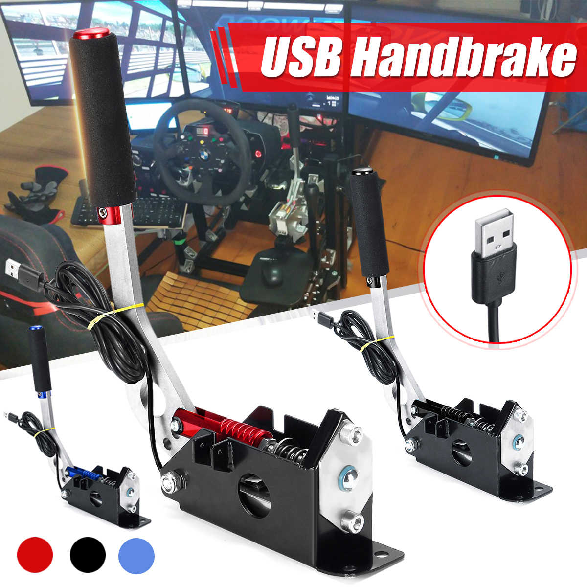 Compatible for PC//windows system only USB SIM Handbrake With Clamp For Racing Games G25 G29 T500 Universal Handbrake for SIM Racing