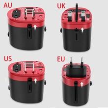 EU AU UK US 4 In 1 Universal Power Adapter Plug AC 110V 220V 230V Travel Socket 5V USB Mobile Phone Charging Port