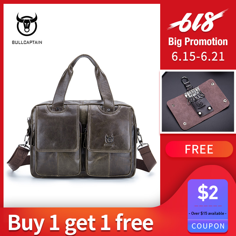 BULLCAPTAIN Briefcase Men's Brown Leather 14.1 Inches Laptop Handbag Crossbody Bag Work Bag Company / Travel / Daily Use