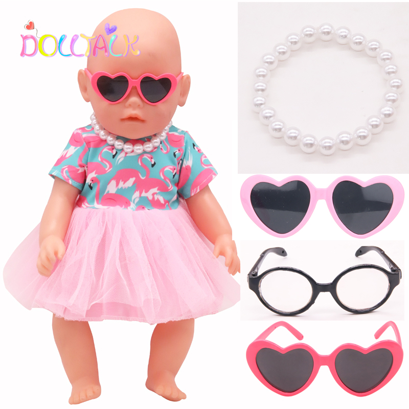 Doll Accessories For Girls Fashion Sunglasses Necklace Hairpin For 43 Cm Bebe Reborn Baby Clothes For Our Generation Toys