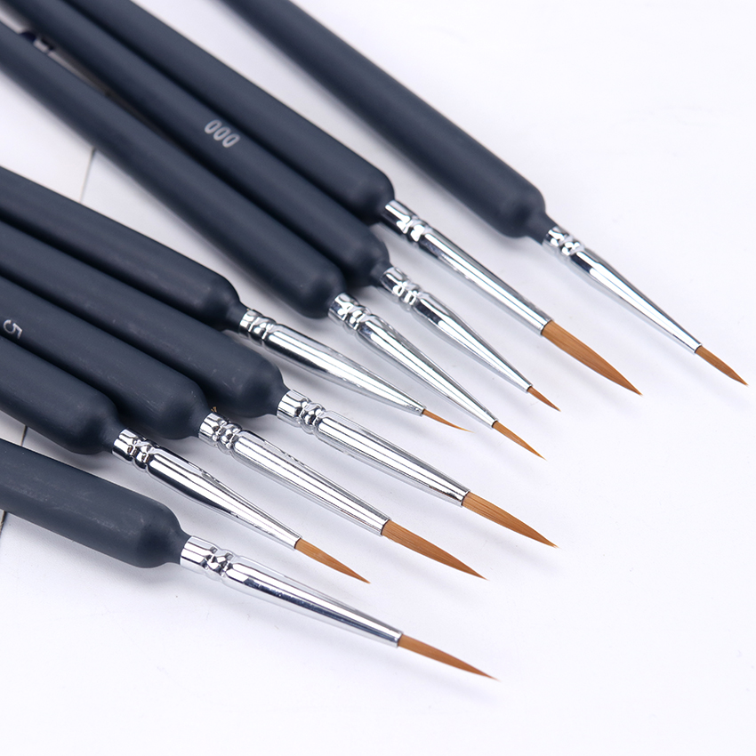 9PCS/Set Paint Brushes Artist Wolf Tail Hair Hook Line Pens Hair Brush Pen Watercolor Paint Oil Painting For Beginners Artists