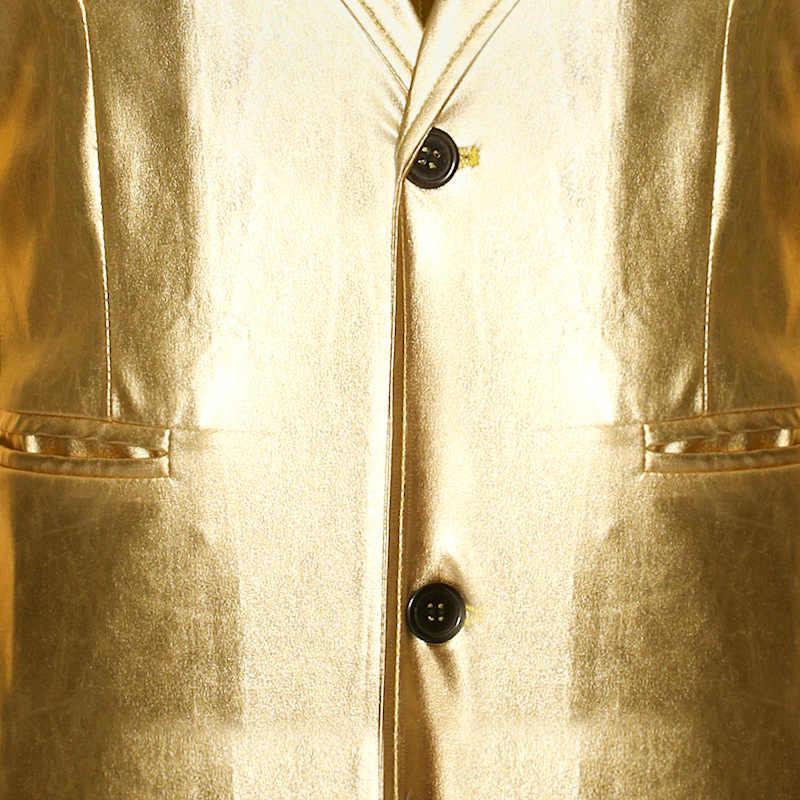 Herren Nachtclub Bühne Dance Durchführen Anzug Jacke 2020 Marke Glänzenden Beschichteten Metallischen Smoking Blazer Männer Bühne Sängerin Blazer Masculino