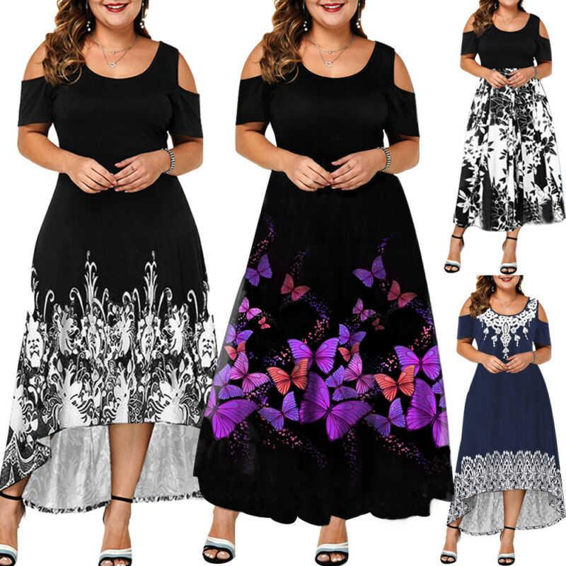 Maxi US Long Plus Dress Floral Cold Ladies Size Asymmetric Womens Shoulder