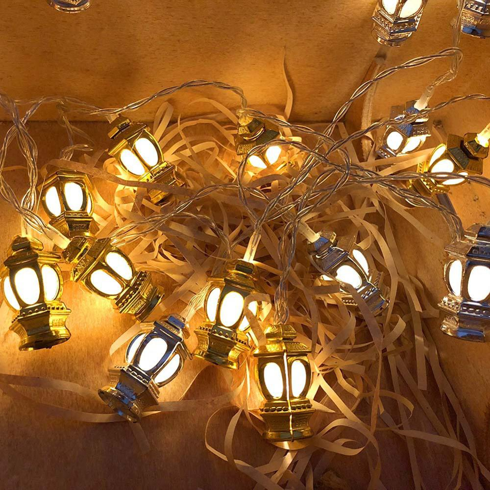 Lantern Lamp LED Eid Mubarak Decorative String Lights Ramadan Kareem Decoration Muslim Islam Party Supplies Wedding Party Lights