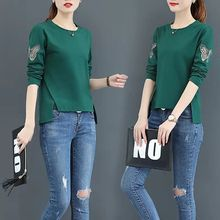 2020 100% Cotton t Shirt Women Autumn Fashion Long Sleeve Shirt O-Neck Woman T-Shirt Loose Korean Style Plus Size Women Shirts