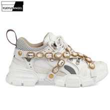 Sneakers Women Shoes Chain Platform-Trainers Luxury Brand Crystal Genuine-Leather Metal-Decoration