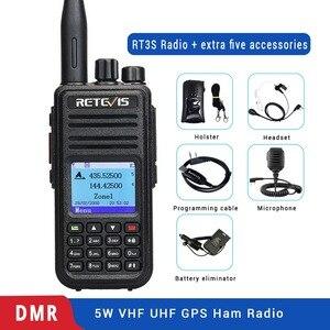 Image 1 - DMR dwuzakresowy Retevis RT3S cyfrowe Walkie Talkie (GPS) VHF UHF Radio DMR Amador szynki nadajnik odbiornik radiowy 2 Way Radio + akcesoria