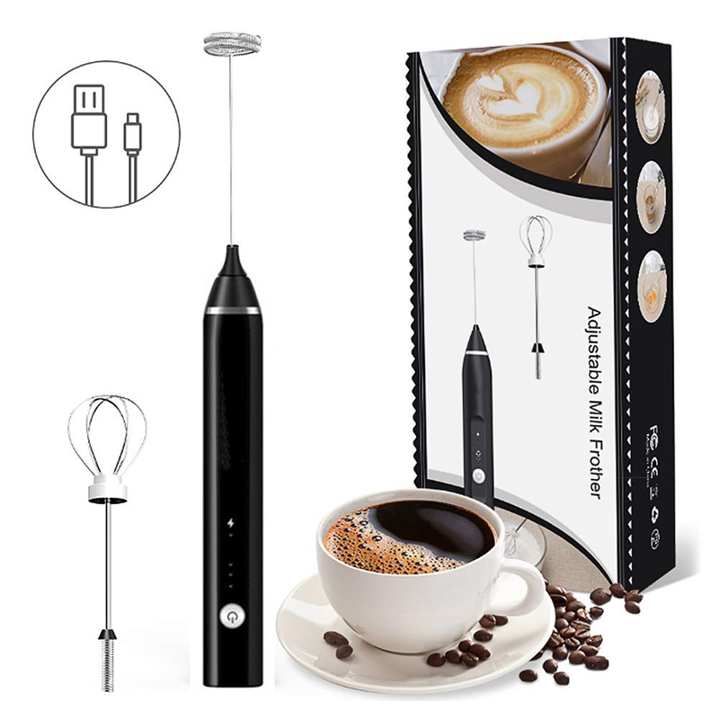 2in1 USB Electric Milk Frother Foam Maker Whisk Mixer Handheld Rechargeable 3 Speed Adjustable Stirrer Coffee Eggbeater Kitchen|Coffee Art Needles| |  - title=