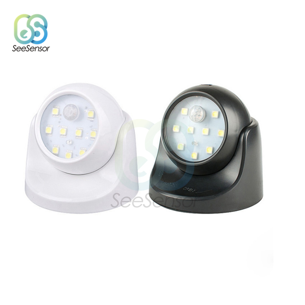 PIR Motion Sensor Night Light 9 Led 360 Degree Rotation Wireless Detector Night Light Wall Lamp Auto On/Off Closet Hallway Light