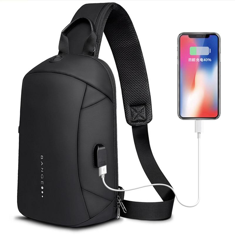 Bange Fashion Multifunction Crossbody Bags Men USB Recharging Chest Pack Short Trip Messenger Chest Bag Waterproof Shoulder Bag