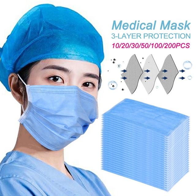 Medical Masks Anti Flu dust Fast ship Safe Mouth Face Masks Steriliz Non-woven Disposable Pro-Dust Adult Surgical Mask 1