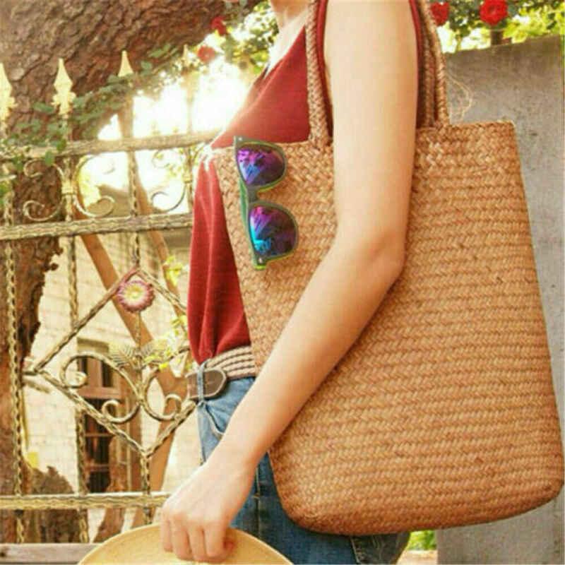 Wanita Handmade Jerami Musim Panas Pantai Tas Tote Bahu Keranjang Belanja Tas Tangan Tas