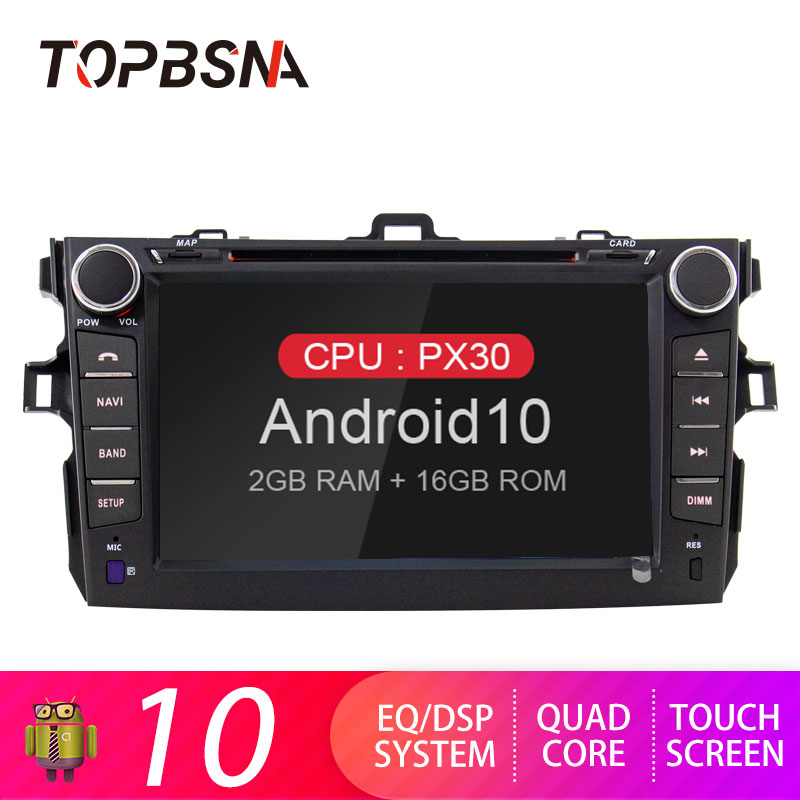 TOPBSNA 2 Din Car DVD Player Android 10 for <font><b>Toyota</b></font> <font><b>Corolla</b></font> <font><b>E140/150</b></font> 2006 2007-2009 2010 2011 2012 2013 WIFI GPS Navigation Radio image