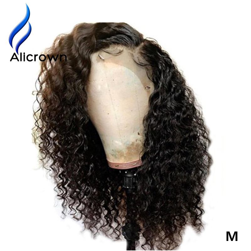 ALICROWN Curly 13*4 Lace Front Human Hair Wigs Brazilian Remy Middle Ratio Hair With Baby Hair Pre Plucked Hairline 130Density-in Human Hair Lace Wigs from Hair Extensions & Wigs