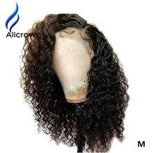 Alicrown encaracolado 13*4 frente do laço perucas de cabelo humano brasileiro remy médio relação cabelo com o cabelo do bebê pré arrancado linha fina 130 densidade