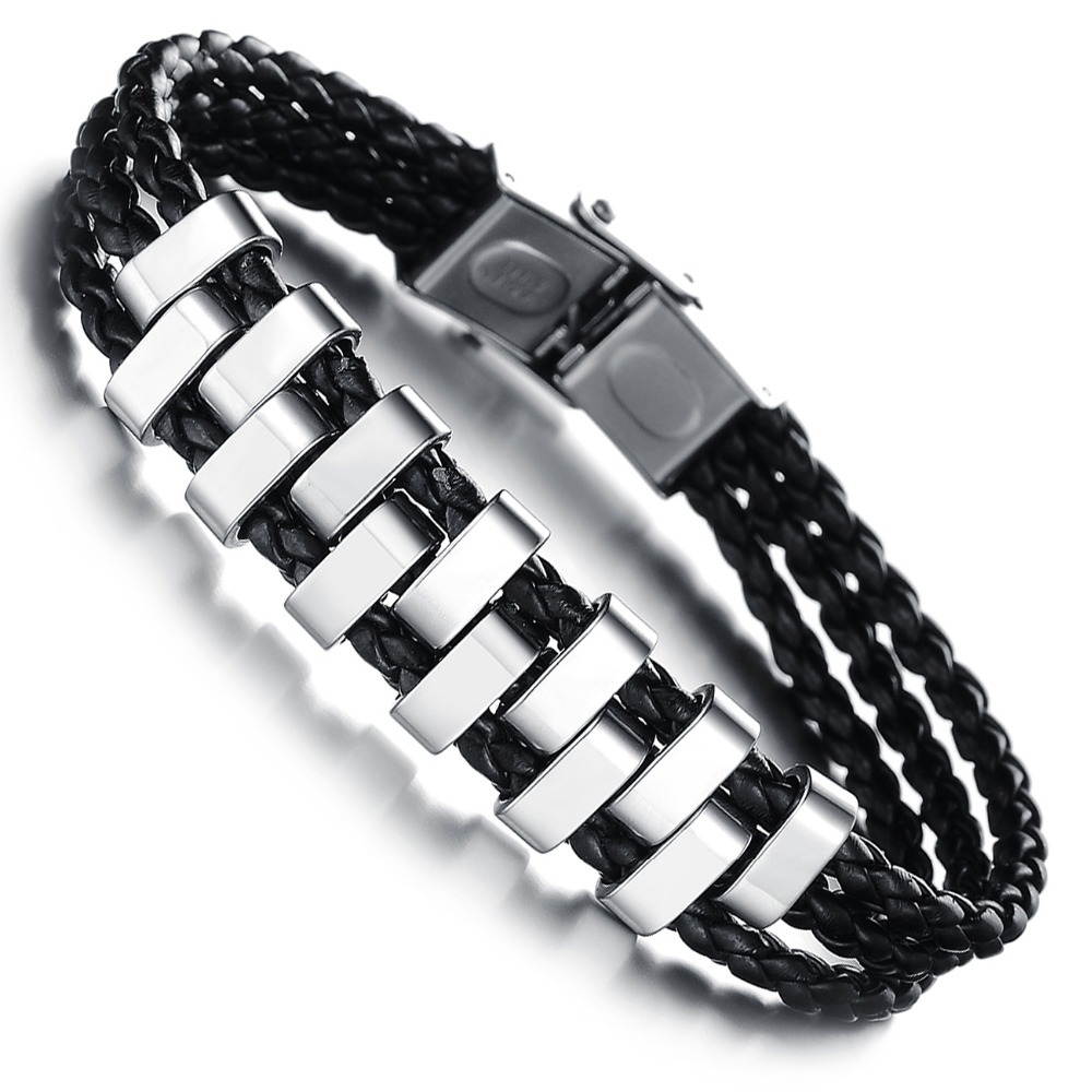 Modyle 2020 New Fashion Silver Color 316L Stainless Steel Punk Vintage Braided Black Leather Bracelet for Man