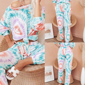 Tie-Dye Printed Women Top and Casual Bottoms 2-Piece for Women Autumn Women Long Sleeve Trousers 2 Piece Set