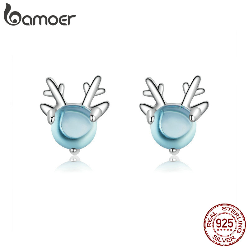 Bamoer Crystal Stone Deer Stud Earrings For Girls Party Accessories 925 Silver Animal Antler Earring Lady Fashion Jewelry BSE210