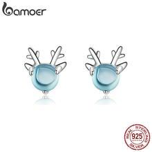 Bamoer – boucles d'oreilles en forme de cerf avec pierre de cristal pour filles, accessoires de fête, en argent 925, bijoux à la mode pour femmes, BSE210