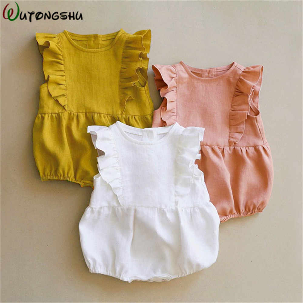 Baby Rompers Summer Ruffle Sleeveless Kids Onesie Newborn Baby Girls Clothes Vintage Princess Girls Jumpsuit Infant Outfits