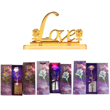 Lasts Forever Love Rose Flowers 24K Foil Gold Mother Valentine Day Creative Gift Bright Gold with Lamp Wedding Decor image